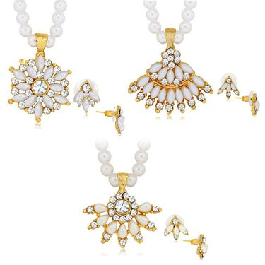 Spargz 3 Beautiful Pearl Necklace Set Studded With AD Stone_Cb401