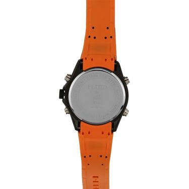 Fluid Analog & Digital Round Dial Watch For Unisex_d05or01 - Black & Orange