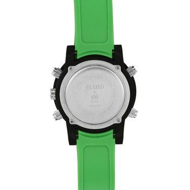 Fluid Analog & Digital Round Dial Watch For Unisex_d07gr01 - Black & Green