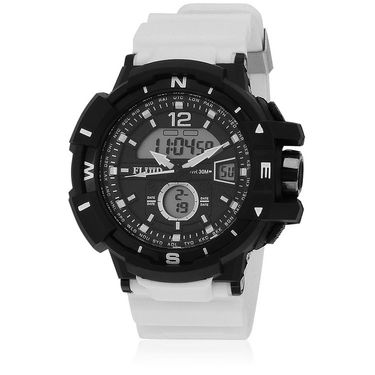 Fluid Analog & Digital Round Dial Watch For Unisex_d09wh01 - Black & White
