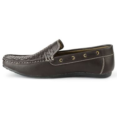 Foot n Style Synthetic Leather Brown Loafers Shoes -fs3106