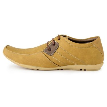Foot n Style Suede Leather Beige Casual Shoes -fs3118