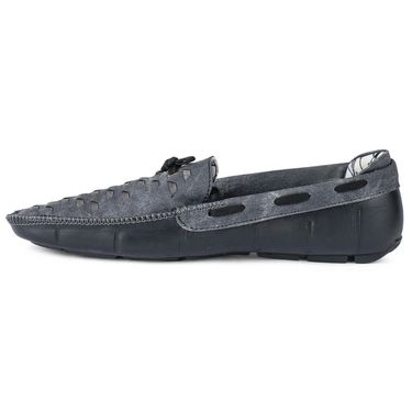 Foot n Style Leather Loafer Shoes FS 398 -Grey