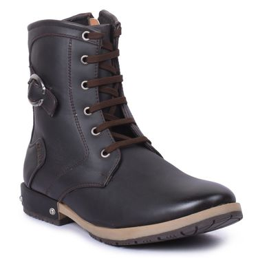 Foot n Style  Faux Leather Black Boots -Fs4007