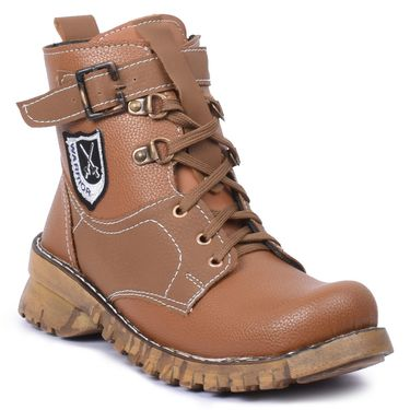 Foot n Style Leather Beige Boots -Fs4022