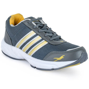 Foot n Style Synthetic Leather Sports Shoes FS 521 -Grey & Yellow