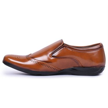 Foot n Style Patent Leather Tan Formal Shoes -Fs7003