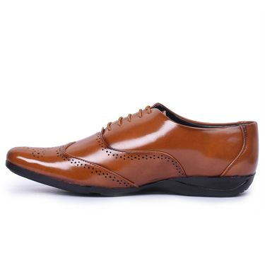 Foot n Style Patent Leather Tan Formal Shoes -Fs7006