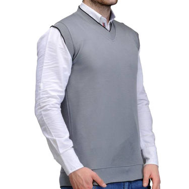 Oh Fish Plain Sleeveless V Neck Sweater For Men_Slgry1 - Light Grey