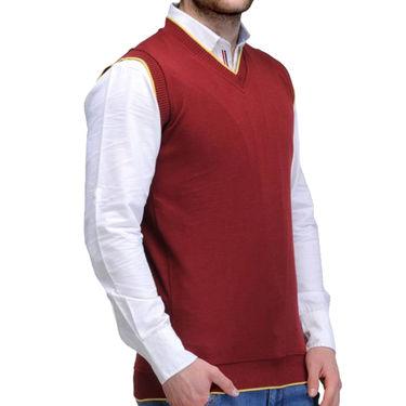 Oh Fish Plain Sleeveless V Neck Sweater For Men_Smrn1 - Maroon