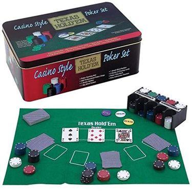 200 Pcs Casino Style Hold'em Poker Game Set with Layout