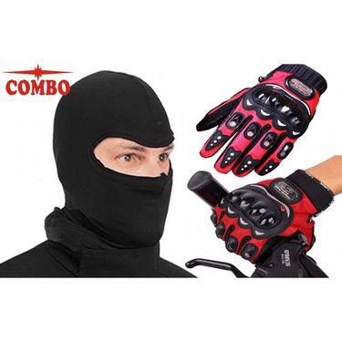 Pro-Biker Full Finger Bikers Gloves with Balaclava Face Mask