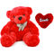 12 Inches Teddy Bear with Heart Shape Pillow - Red
