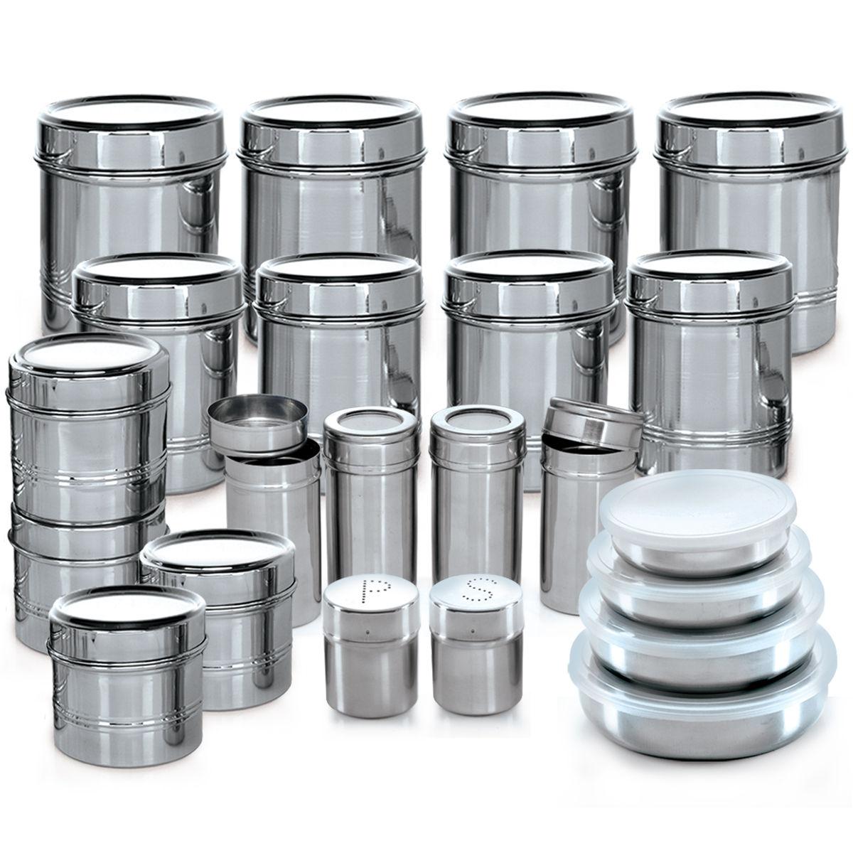 Buy branded 44 pcs stainless steel storage set online at for Steel kitchen set