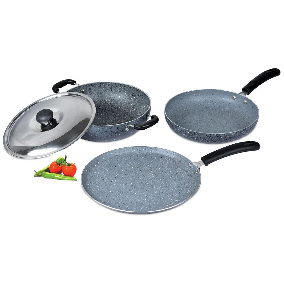 Buy 3 pcs granite texture finish cookware online at best for Naaptol kitchen queen set
