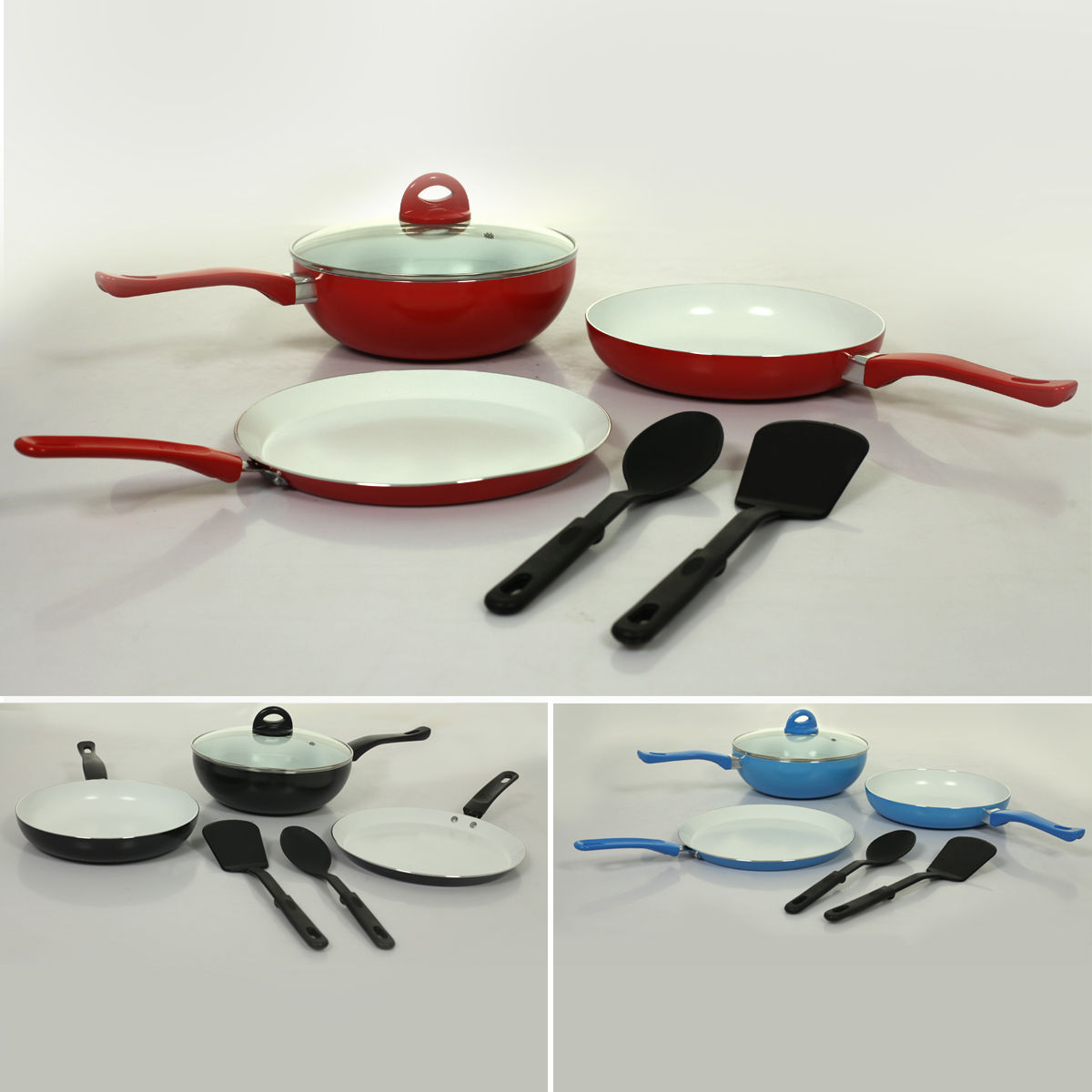 Buy 6 pcs ceramic coated colourful cookware set online at for Kitchen set royal
