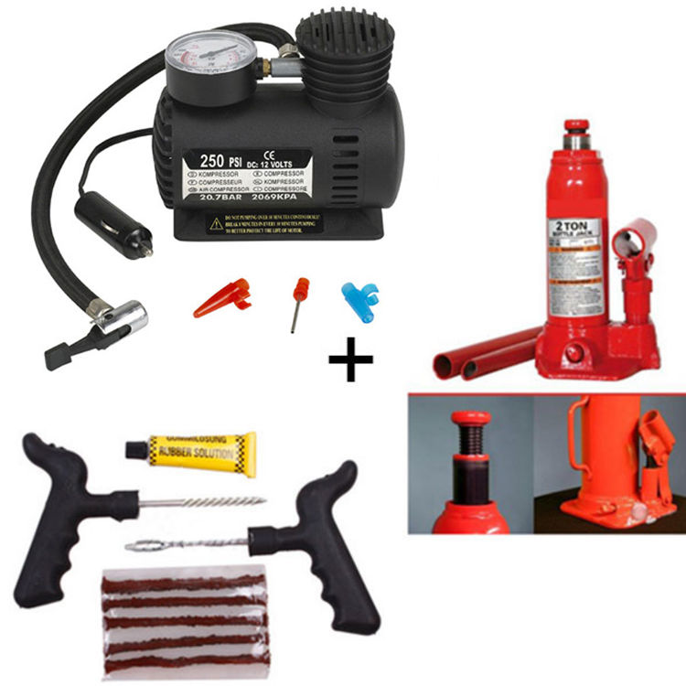 combo of car tyre inflator hydraulic 2 0 ton jack. Black Bedroom Furniture Sets. Home Design Ideas
