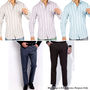 Gwalior Men's Formal Collection - 3 Striped Shirt Piece + 2 Pant Piece