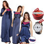 Set of 5 Clovia Satin Nightwear - Navy Blue