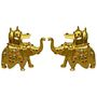 GRJ India Set of 2 Brass Ambabari handicraft Elephant