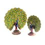 GRJ India Set of 2 Handicrafts Paradise Metal Enamelled Dancing Peacocks