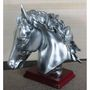 Importwala silver Horse Head with wooden base 1403-1011