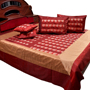 Little India Double Bedcover with 2 Cushion Cover and 2 Pillow Cover  - Maroon & Golden