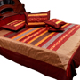 Little India Double Bedcover with 2 Cushion Cover and 2 Pillow Cover - Multicolor- DLI3SLK352