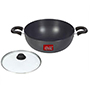 Ok Hard Anodised Induction Base Deep Kadai with Glass Lid-IND DKHA2 - Black