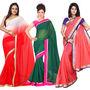 Pack of 3 Silkbazar Plain Chiffon Saree-feb_noor_4