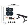 Protoner Weight Lifting Home Gym 50 Kg + Flat Bench + 4 Rods (1 Zig Zag) + Accessories