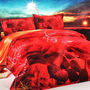 Romanz 3D Digltal Print Double Bed Sheet with 2 Pillow Covers - Red