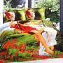 Romanz 3D Digltal Print Double Bed Sheet with 2 Pillow Covers - Multicolor- LE-TR-07