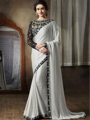 Nanda Silk Mills Latest Ethnic Pure Satin Georgette Off White Color Saree Designer Party Wear Saree_Vr-1908