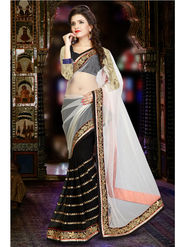Black and White Georgette Net Saree with Black Blouse Piece_JJ-SR-ADY-8312