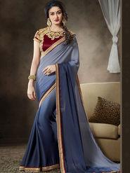 Nanda Silk Mills Latest Ethnic Pure Satin Georgette Gray Color Saree Designer Party Wear Saree_Vr-1907