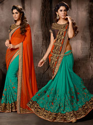 Turquoise and Orange Georgette Embroidered Saree with Blouse Piece_AY-SR-AL-2103