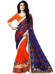 Nanda Silk Mills Red Georgette Embroidered Saree With Blouse Piece_Gitanjli-4403