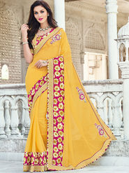 Indian Women Printed Georgette Yellow Designer Saree -Ic11308