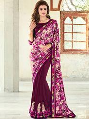 Indian Women Printed Satin Georgette Violet Designer Saree -Ic11309