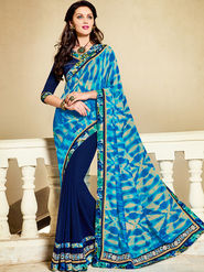 Indian Women Printed Georgette Blue Designer Saree -Ic11311