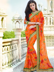 Indian Women Bandhej Georgette Orange Designer Saree -Ic11316