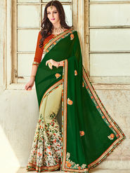 Indian Women Printed Georgette Green & Offwhite Designer Saree -Ic11321