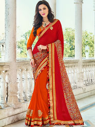 Indian Women Printed Georgette Red & Orange Designer Saree -Ic11329