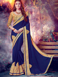 Indian Women Embroidered Moss Chiffon Dark Blue Designer Saree -MG12314