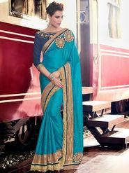 Indian Women Embroidered Blue Silk Saree -MG12407