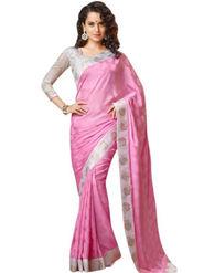 Nanda Silk Mills Pure CREPE Printed Saree - Pink