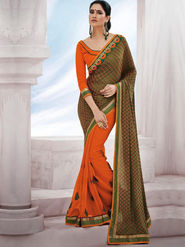 Bahubali Jacquard Embroidered Saree - Green & Orange_GA.50122