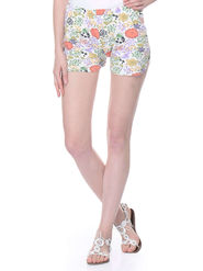 Lavennder Cotton Knitted Lycra Printed Short  - White_LW-5141