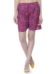Lavennder Cotton Printed Ladies Short - Fuchsia & Blue_LW-5169